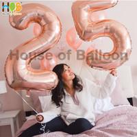 Balon Foil Huruf Angka JUMBO Rosegold Rose Gold 100cm