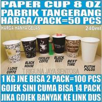 Paper Cup 8oz 50pcs Gelas Kertas Kopi Tahan Panas 240ml Coffee 8 Oz