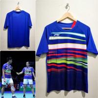 Jersey Bulutangkis Badminton Praveen Melati Lining Biru Go Import