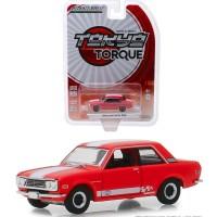 Greenlight 1/64 1970 Datsun 510 Custom Red White Stripe Tokyo Torque 5