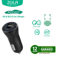 ZOLA Rocket Car Charger Power Delivery 18W & Qualcomm Quick Charge 3.0