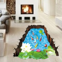3D Wallpaper Sticker Dinding 90 x 60cm - WPP003 - Ikan Koi