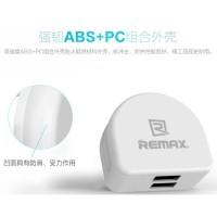 Adaptor Charger USB Remax Crescent Moon Series EU Plug 2 port aman