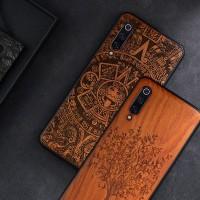 2019 New For Xiaomi Mi 9 Case Slim Wood Back Cover TPU Bumper Case On