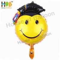 Balon Foil Graduation Wisuda Sarjana Smiley Face Muka Smile Toga 40 cm