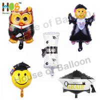 Balon Foil Wisuda Graduation Set - Surat Owl Smiley Hat Topi
