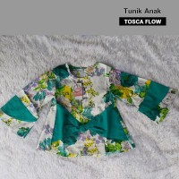 Baju Anak Tunik Ribbon Flower Tosca