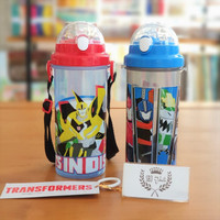 Botol air minum PLASTIK anak BPA Free 650 ml TRANSFORMER