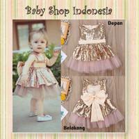 Dress Pesta Bayi Murah Dress Bayi Import Gold Dress Anak Import Gold