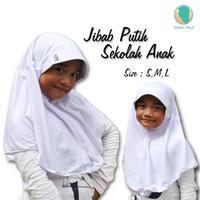 Jilbab Sekolah Untuk SD, SMP - Kerudung Sekolah Putih Size M
