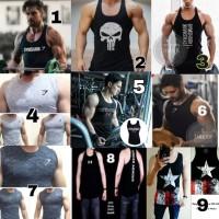 singlet kaos gym fitness pria olahraga