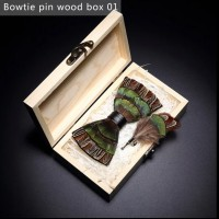 Handmade Bow Tie Feather Brooch Pin Wooden Gift Set Wedding Party