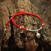 100% s925 Sterling Silver Handmade Bell Charm Lucky Red Rope Bracelet