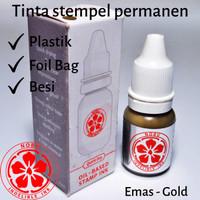 Tinta Stempel Warna Emas - Gold | Permanen - Besi - Plastik Kemasan