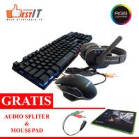 Bundle Gaming Keyboard Mouse Headset Free Audio Spliter dan Mousepad