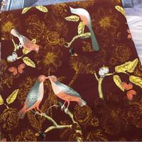 Kain Impor bahan mix Canvas & Linen motif Burung Coklat