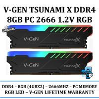 RAM V-GEN TSUNAMI X RGB DDR4 8GB (4GBx2) PC 2666 CL 15-17-17-35 1.2V