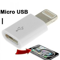 Micro USB Female to Lightning 8 Pin Adapter for iPhone Putih