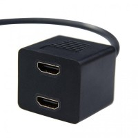 HDMI Splitter Gold Plated 0.3m 2 Port Female - XH1023 Hitam