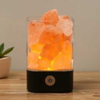 ICOCO Lampu Tidur LED Crystal Salt Lamp of Himalaya Lava Lamp M4 Hitam