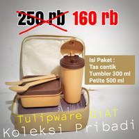 Set Makan Kotak Dan Tumbler Anti Bocor / Mini Lunch Set Twin Tulipware