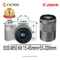 EOS M50 Kit with Lens 15-45mm + 55-200mm (White)