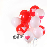 balon motif hati / balon hati merah putih / balon dekorasi latex love