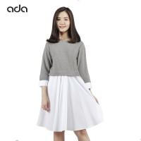 Ada Fashion Dress Tangan Panjang Wanita Warna Abu Bawahan Putih