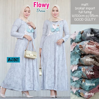 grosir baju pesta flowy dress bruklat