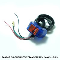 Saklar On-Off Motor Transparan + Lampu 12 Volt - Biru