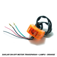 Saklar On-Off Motor Transparan + Lampu 12 Volt - Orange