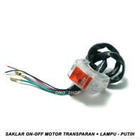 Saklar On-Off Motor Transparan + Lampu 12 Volt - Putih