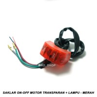 Saklar On-Off Motor Transparan + Lampu 12 Volt - Merah