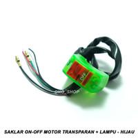 Saklar On-Off Motor Transparan + Lampu 12 Volt - Hijau