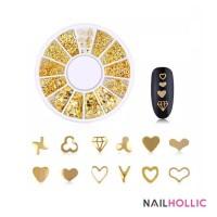multi shape gold alloy nail art decoration / nail wheel / kuku