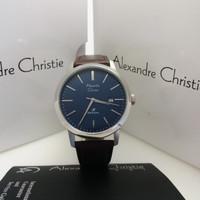 Alexandre Christie ac 1007 Silver Biru Leather Brown Original jam pria