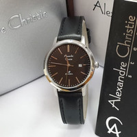 Alexandre Christie 1007 Silver leather hitam Original Jam Wanita