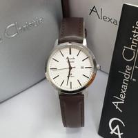 Alexandre Christie ac 1007 Silver leather hitam Original Jam Wanita