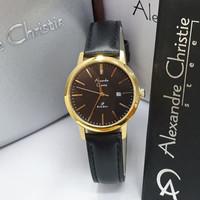 Jam Tangan Wanita Alexandre Christie 1007 Gold Leather Hitam Original