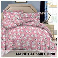Sprei Katun Valencia Motif Marie Cat Smile Pink