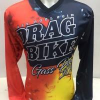 baju jersey motor drag bike-kaos motor cross gas poll merah hitam 382