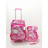DJF - Tas Sekolah Tas troli ransel 4 in 1 Hello Kitty 2 Roda - LED