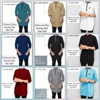 New Model Promo Baju Koko Atasan Muslim pria Warna Hitam Putih maroon