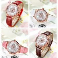 Jam tangan wanita otomatis mekanik Romantis berlian Impor