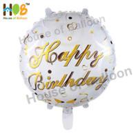 Balon Foil Bulat Happy Birthday Tulisan Sambung Cursive Gold