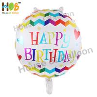 Balon Foil Bulat Happy Birthday Warna Zig Zag Pelangi Colorful