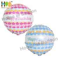 Balon Foil Bulat Happy Birthday Scale Sisik Wave Biru Pink