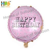 Balon Foil Bulat Happy Birthday Pink Shadow Motif Daun