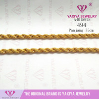 Yaxiya kalung tambang perhiasan imitasi lapis emas aksesoris 18k 494