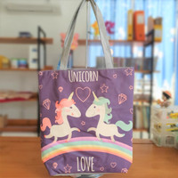 Tas Tote Bag Kanvas Tebal Fashion Korea flamingo Unicorn Owl
